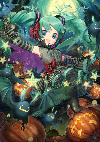Фото Vocaloid Hatsune Miku / Вокалоид Хатсуне Мику в Хэллоуин / Halloween порит в ночном небе среди звездочек, летучих мышей и Светильников Джека / Jack Light