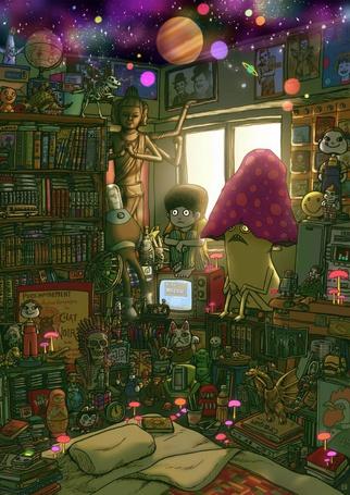 Фото Испуганный мальчик и огромный гриб в комнате с бардаком