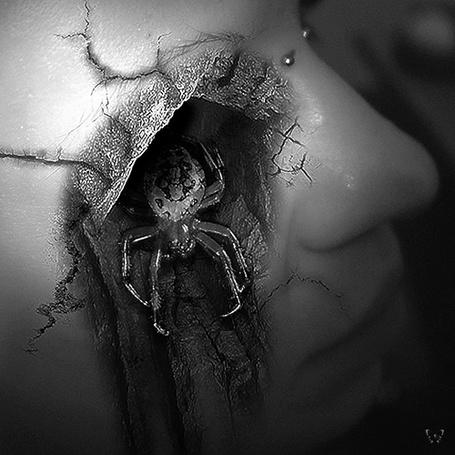Фото У девушки из глаза выползает механический паук