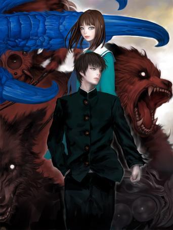 Фото Девушка и парень в школьной форме и монстры рядом с ними