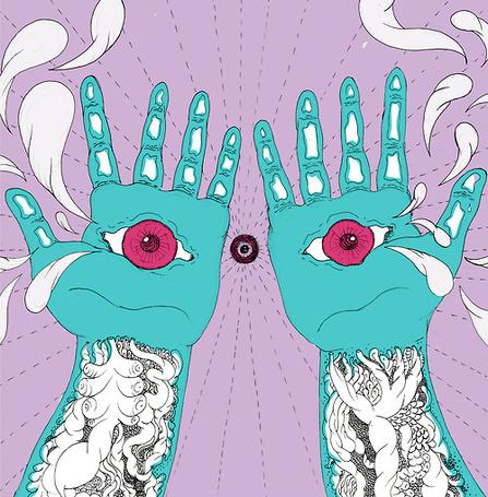 Фото Татуированные руки с глазами в ладонях, из которых вырываются слезы