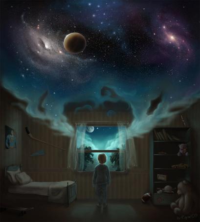 Фото Мальчик стоит в комнате с открытым окном, из которого в комнату просачивается космос, луна и облака в небе, художник whisperfall