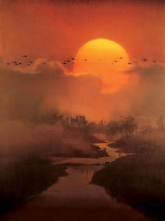 Фото На фоне заката над рекой летят вертолеты