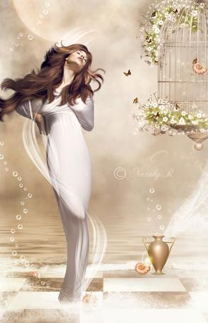 Фото Девушка в белом платье стоит около подвешенной клетки, на которой растут цветы и летают бабочки
