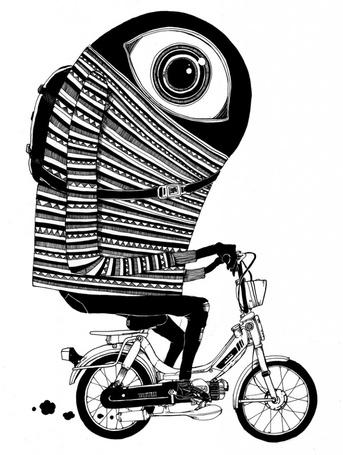 Фото Глаз с тельцем, едущий на мопеде, автор Пэт Пэрри / Pat Perry