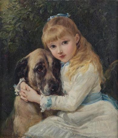 Фото Маленькая девочка обнимает собаку