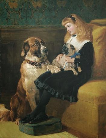 Фото Маленькая девочка сидит на диване, держа собаку в руках и рядом сидит огромная собака