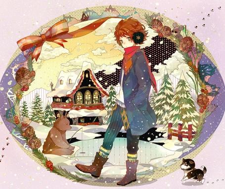 Фото Парень в пальто стоит с руками в карманах рядом бежит маленький щенок на фоне небольшого пруда, в котором медведь ловит рыбу, и двухэтажный домик, автор - irorico