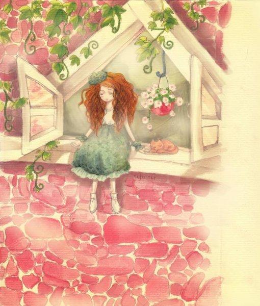 Фото рыжеволосая девушка сидит на