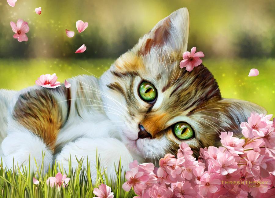 Для мастера, открытки милый котик