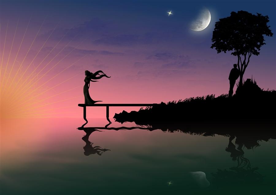 Фото Девушка стоит на речном пирсе, смотря на заходящее солнце, парень оперся о дерево, в ночном небе луна, фотограф Lennulia