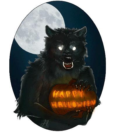 Фото Волк держит сияющую тыкву, на фоне полнолуния (Happy Halloween / Счастливого Хэллоуина)