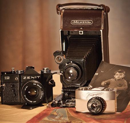 Фото Три старых советских фотоаппарата Zenit, Момент и Нарцисс стоят возле старой черно-белой фотографии мальчика (© Princessa), добавлено: 02.11.2013 08:09