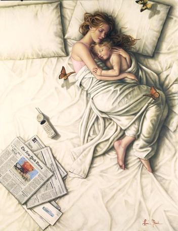 Фото Девушка и малыш, укутавшиеся покрывалом, спят на кровати, by Lauri Blank