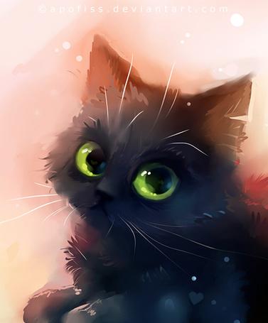 Фото Черный котенок с зелеными глазами, художник Apofiss