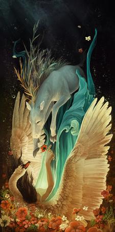 Фото Девушка-лебедь и летающий дракон под водой, художница Jenna Vincent