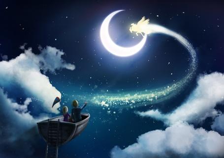 Фото Девочка с мальчиком в парящей в ночном небе лодке смотрят на волшебного пегаса