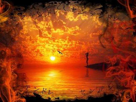 Фото Девушка стоит на берегу моря, закат, летит птица, обрамление дымом, все в красном цвете