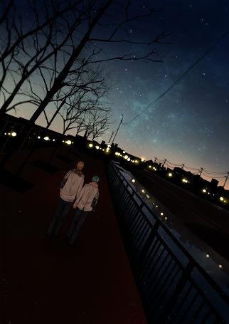 Фото Кисе Рета / Kise Ryouta и Куроко Тетсуя / Kuroko Tetsuya из аниме Баскетбол Куроко / Kuroko no Basuke идут по ночному городу