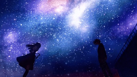 Фото Девушка и парень стоят, напротив друг друга, на фоне звездного неба