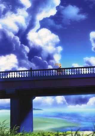 Фото Kamio Misuzu / Мисудзу Камио из аниме Высь / Air стоит на мосту на фоне облачного неба