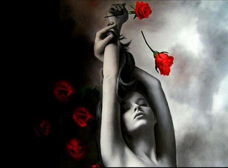 Фото Девушка и красные розы, художник Brita Seifert