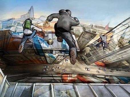 Фото Группа парней перепрыгивает с крыши на крышу высотных зданий в Москве / Moscow, удирая от преследования полиции