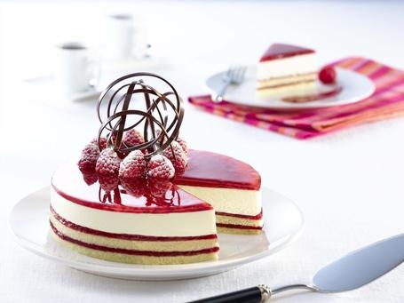Фото Торт с малиной и шоколадом на белой тарелке (© ), добавлено: 10.11.2013 09:59