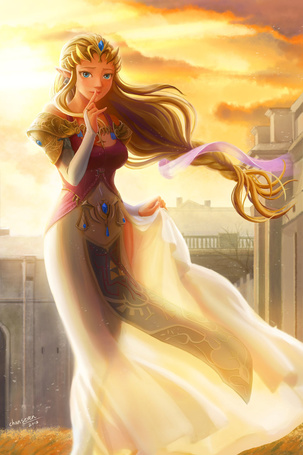 Фото Принцесса Зельда / Zelda из игры The Legend of Zelda, с развивающимся платьем на закате, художница chanseven
