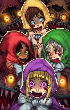 Фото Улыбающиеся малышки в окружении монстров, персонажи из игры The Legend of Zelda: Phantom Hourglass, художник Elsevilla