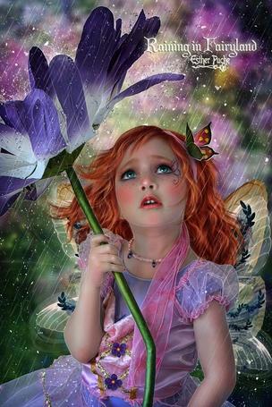 Фото Девочка, с бабочкой в волосах и цветком в руке, под дождем, работа Raining in Fairyland / дождит в волшебной стране, автор EstherPuche-Art