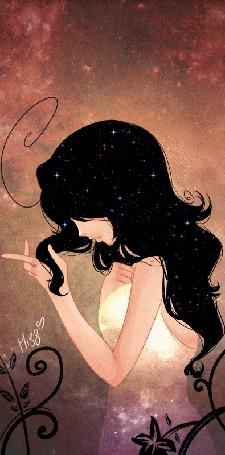 Фото Девушка с черными волосами, в которых горят звезды, автор Mizz-chama