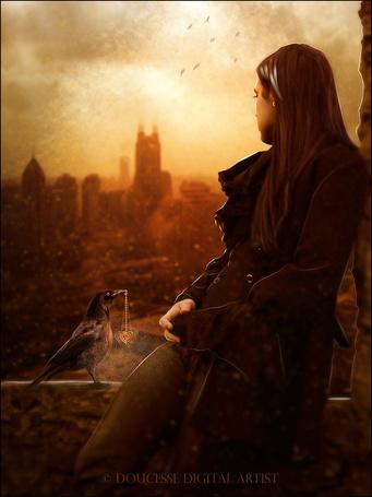 Фото Девушка смотрит на город, рядом сидит ворон с цепочкой с сердечком в клюве, автор Doucesse