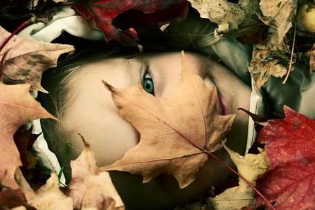 Фото Лицо ребенко засыпано опавшими листьями