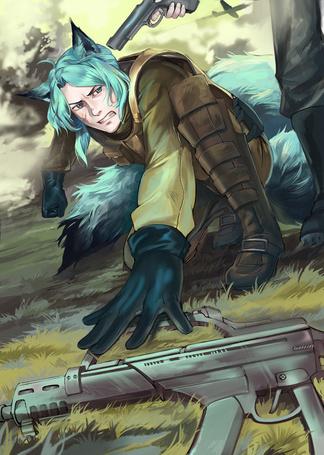 Фото Мужчина-лиса с гоулыбми волосами и хвостом, с приставленный к виску оружием, художник Razuri-chan