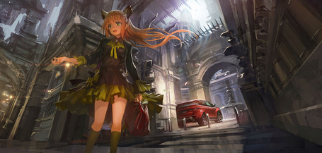 Фото Девушка с ушками и красной сумкой в руках, идет по улице города, на фоне автомобиля Range Rover красного цвета, художник THE-LM7