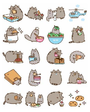 Фото Pusheen the cat / Кот Пушин кушает бутерброд с лотка, везет тележку, наполненную продуктами, пьет с котенком молоко, летит в вертолете, держит поднос с хлебом, кушает рис и спагетти, поливает торт шоколадом, спит, кушает с другом-котом попкорн, лежит и лакомится печенькой, кушает с котом чипсы начос, смотрит на кексы и печенье; его друг маленький серый кот готовит тесто в розовой миске, сидит в тарелке с салатом, размешивает шоколад в стакане, лежит и лакомится пиццей, лежит в бумажном пакете, кушает караме