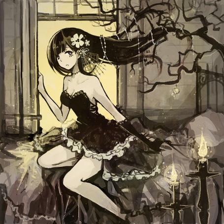Фото Темноволосая девушка сидит напротив окна, художник Sera1023