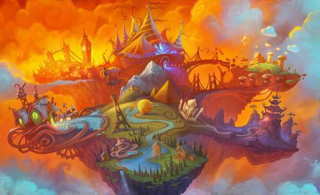 Фото Волшебный, разнообразный, яркий и красочный мир на островке, парящем в облаках художник Джереми Викери