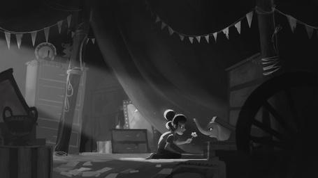 Фото За цирковыми кулисами маленькая девочка, с большими глазами и добрым сердцем, принесла цветочек слоненку, спрятавшемуся в коробке художник Mary Jane