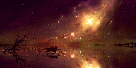 Фото Дракон шагает по воде позади дерева на фоне космоса
