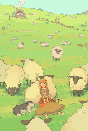 Фото Девочка с собакой лежит на лугу около пасущихся овец, автор - オカZzz