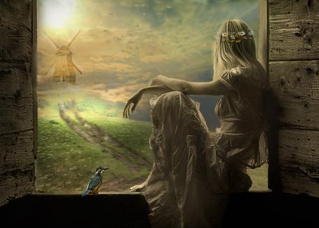 Фото Девушка сидит на окошке, на голове венок, рядом птица, вдалеке мельница, дорога и облака (© retro), добавлено: 23.11.2013 11:31