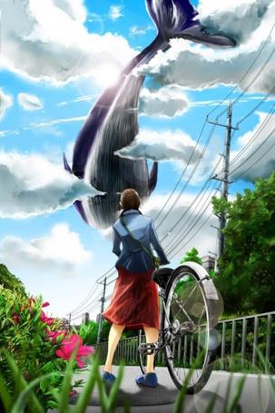 Фото Девушка с велосипедом смотрит на кита в небе