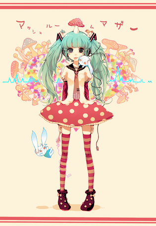 Фото Хацунэ Мику / Hatsune Miku из программы Вокалойд / Vocaloid, клип Mushroom Mother