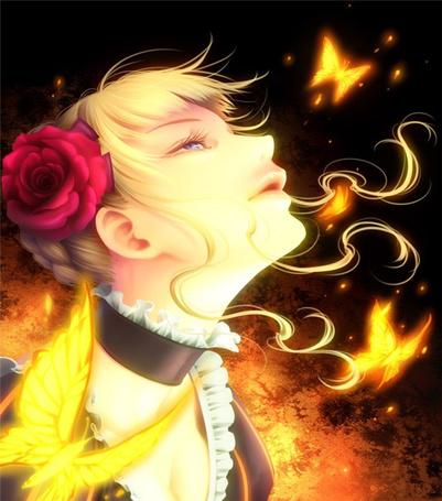 Фото Беатриче / Beatrice из аниме Когда плачут чайки / Umineko no Naku Koro ni смотрит на светящихся желтых бабочек