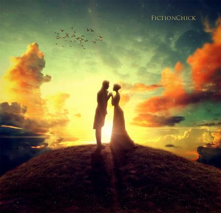 Фото Мужчина и девушка держатся за руки, на фоне неба. художница FictionChick