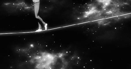 Фото Мужчина идет по натянутой веревке, на фоне космоса