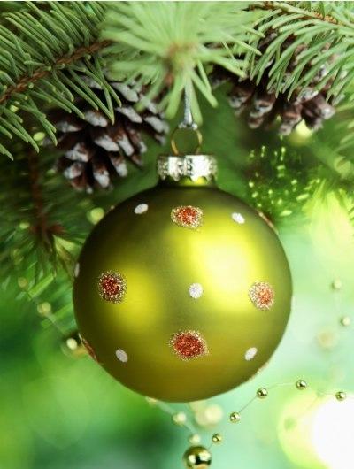 Фото Зеленый новогодний шар висит на ветке елки с шишками