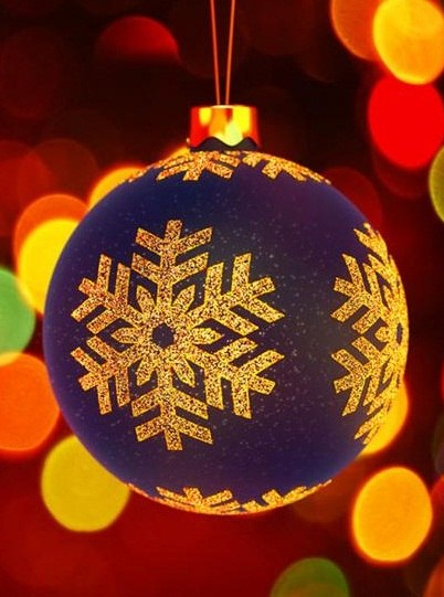 Фото Большой голубой новогодний шар со снежинкой